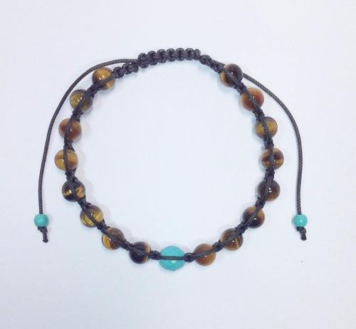 pulseira masculina shambala pedras naturais olho tigre