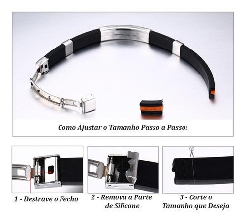 pulseira masculina silicone + aço inox símbolo maçonaria