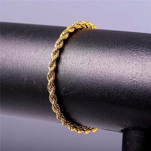 pulseira masculina torcida 4mm largura aço inox banhada ouro