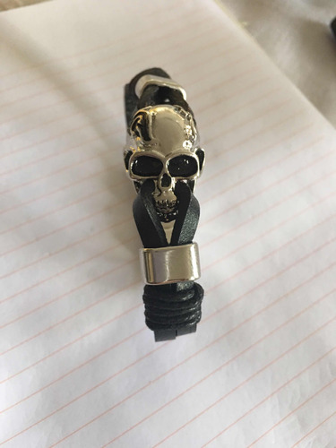 pulseira masculino couro caveira crânio