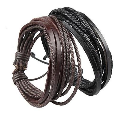 pulseira masculino feminino couro bracelete ajustável
