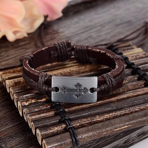 pulseira masculino feminino couro marrom genuino cruz bd1257