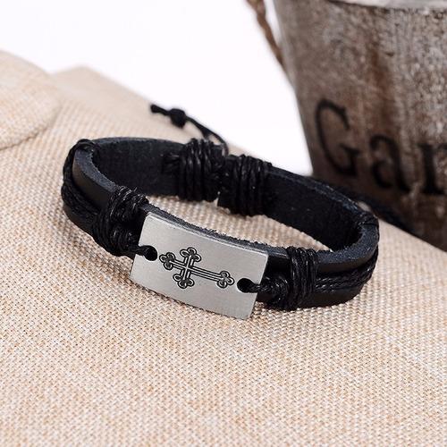 pulseira masculino feminino couro preto genuino cruz bd1256