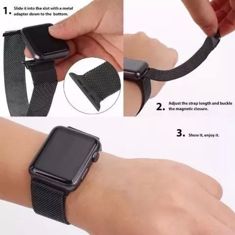 09985561095 Pulseira Milanese Loop Aço P  Relógio Apple Watch 42mm Prata - R  94 ...