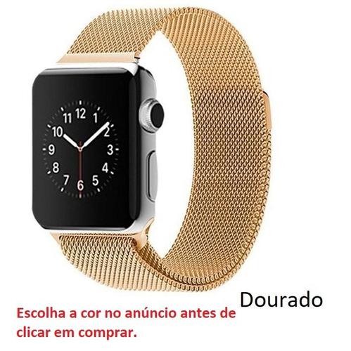 pulseira milanese para apple watch 1 2 3 42mm 38mm luxo aço