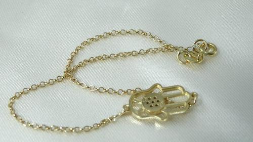 pulseira mão de fátima de ouro amarelo com brilhantes!