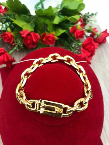 pulseira modelo cadeado cartier banhado a ouro 21cm/11mm