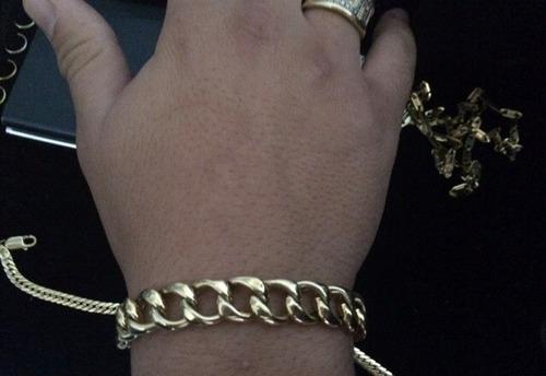 pulseira modelo grumet 1x1 tradicional em ouro 18k 750 17grs