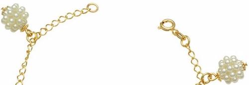 pulseira natal com bolas e cachos de perolas