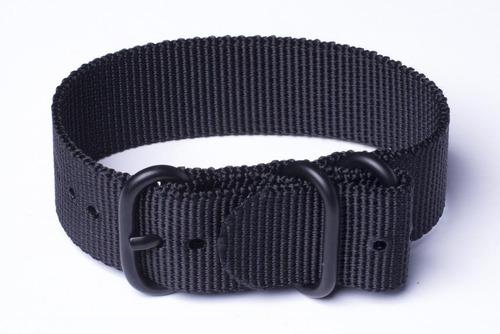 pulseira nato/zulu 24 mm preta  anéis pvd