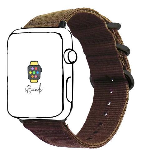 pulseira nylon cafe rustico para apple watch 42mm 44mm