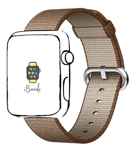 pulseira nylon fivela café caramelo apple watch 38mm 40mm