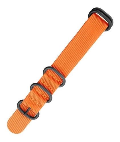 pulseira nylon premium zulu 24 mm laranja  5 anéis pvd 316l