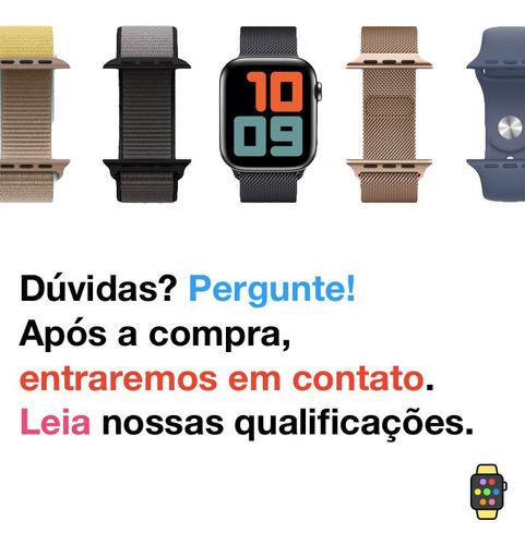 pulseira nylon preto rustico para apple watch 42mm 44mm