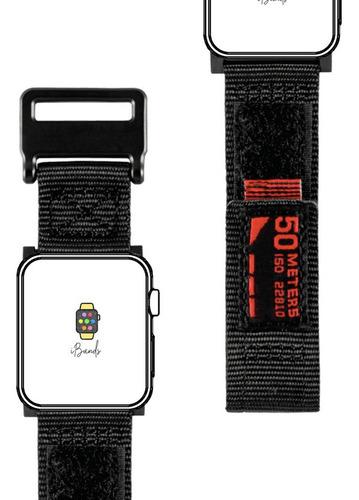 pulseira nylon preto surf trilha esportes apple watch 44mm