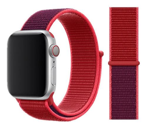 pulseira nylon sport loop para apple watch 38/40mm - red