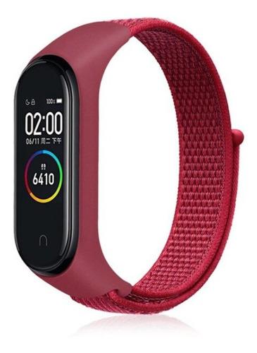 pulseira nylon sport loop para xiaomi miband 3 / 4 vermelha