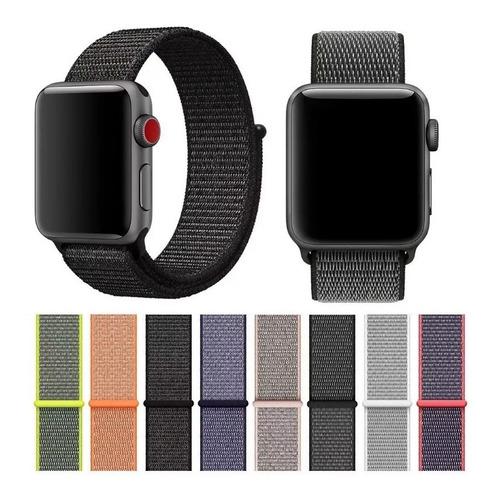 pulseira nylon velcro loop para apple watch series rosa
