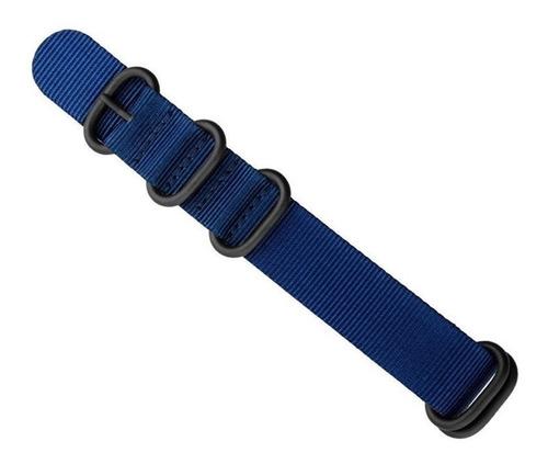 pulseira nylon zulu premium 22 mm azul  5 anéis pvd