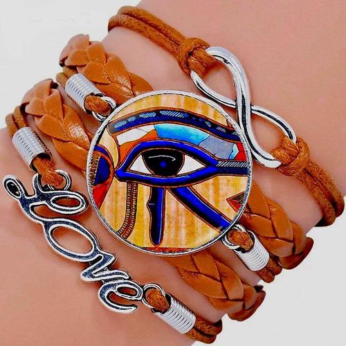 pulseira olho de horus em couro