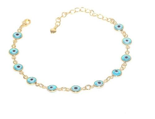 pulseira olho grego turco azul claro folheado a ouro 18k.