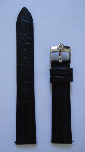 pulseira omega 18mm constellation preta prata couro