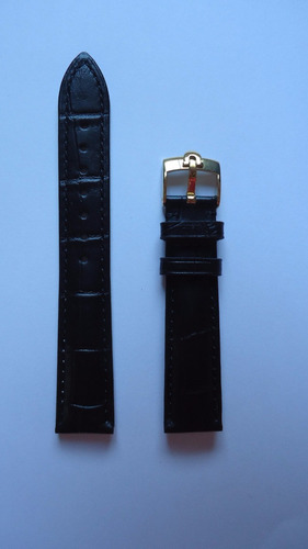 pulseira omega 18mm couro preto presilha dourada lm