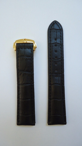 pulseira omega 20mm couro preta dourada deployant