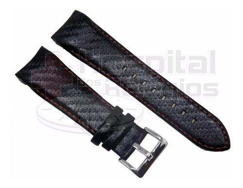 pulseira orient couro mbscc010 preto carbono com vermelho
