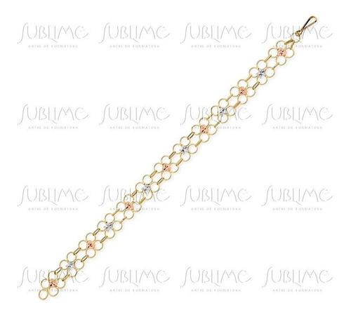 pulseira ouro 10k em três cores 20 cm ad007