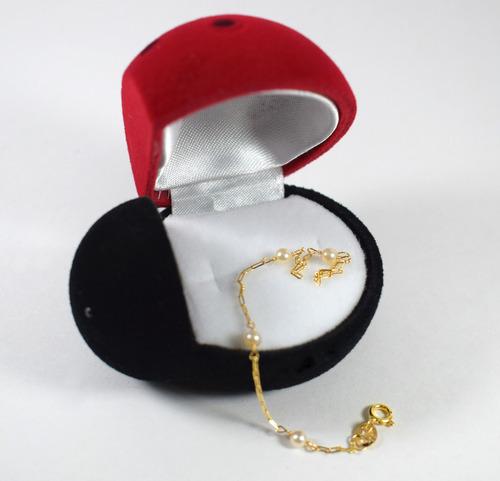 pulseira ouro 18k 750 pérolas naturais 13cm
