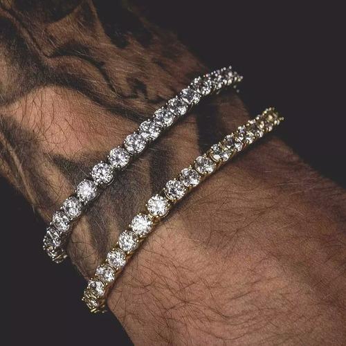 pulseira ouro 20cm 5mm cravejada neymar hip hop lxbr bl55a
