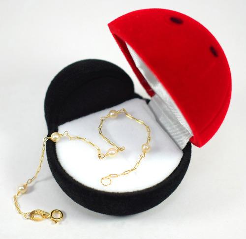 pulseira ouro infantil 18k 750 pérolas naturais 15cm