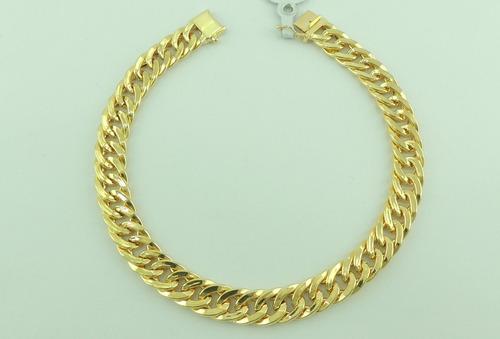 pulseira ouro masculina grumet 21 cm fecho gaveta 18k 750
