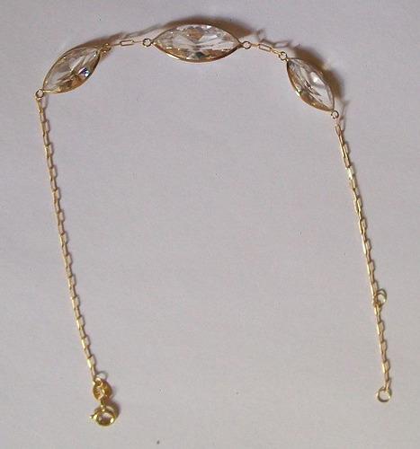 pulseira ouro18k com 3 pedras de zirconia limajoias