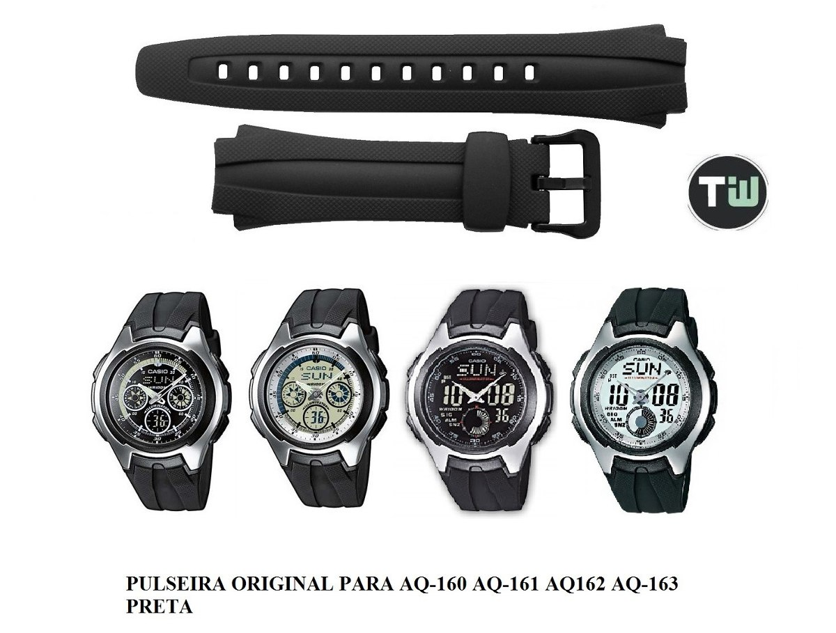 0adeb1d0999 Pulseira P  Casio Aq-160 Aq-161 Aq-162 Aq-163 Preto Similar - R  19 ...