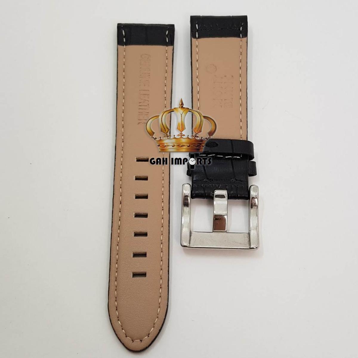 49ce3d0afc5 pulseira p  mont blanc 22mm couro preto com fivela prata. Carregando zoom.