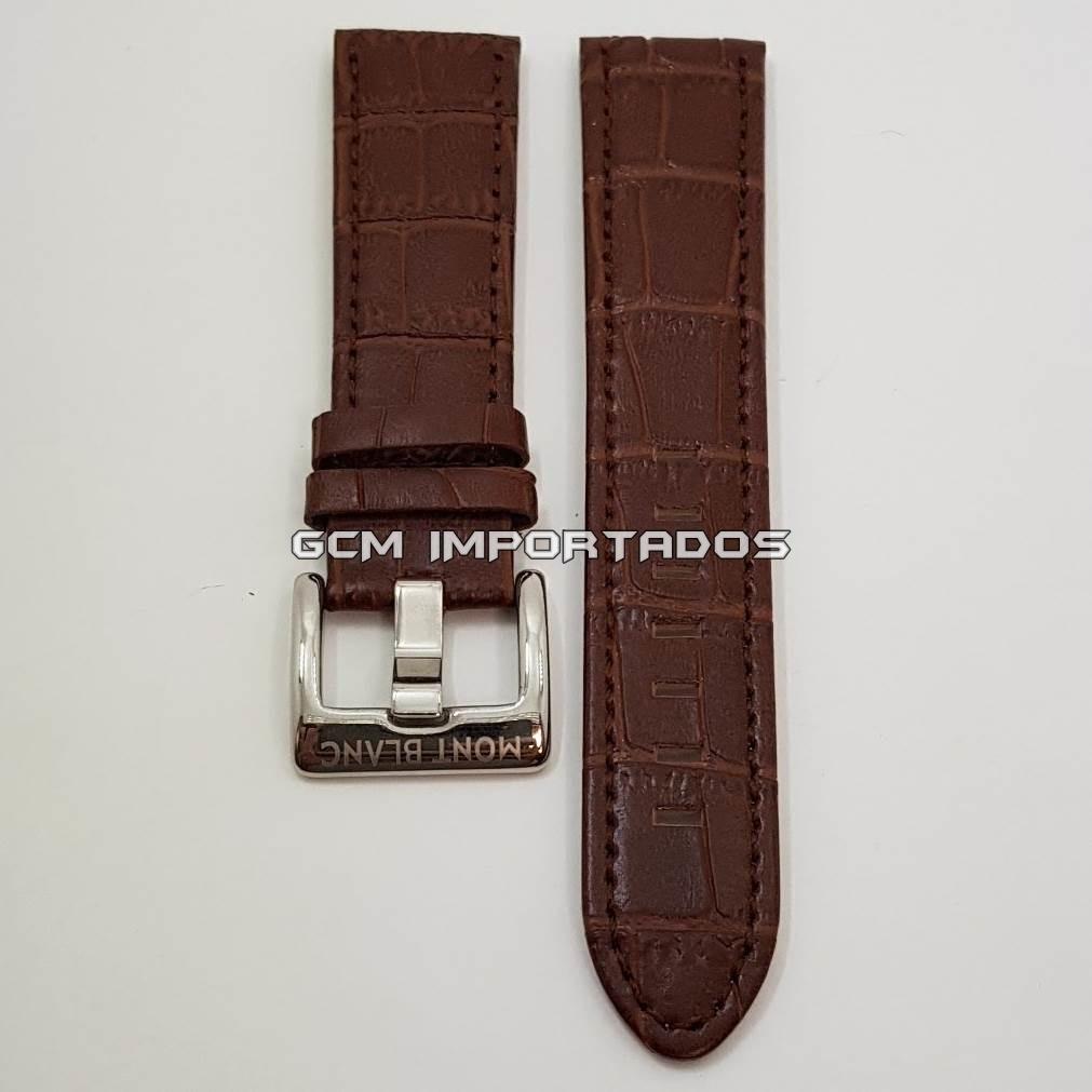 30f6fb7eddc pulseira p  mont blanc 22mm em couro marrom com fivela. Carregando zoom.