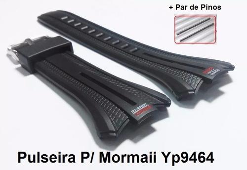 pulseira p/ mormaii yp9464 borracha preta yp.9464