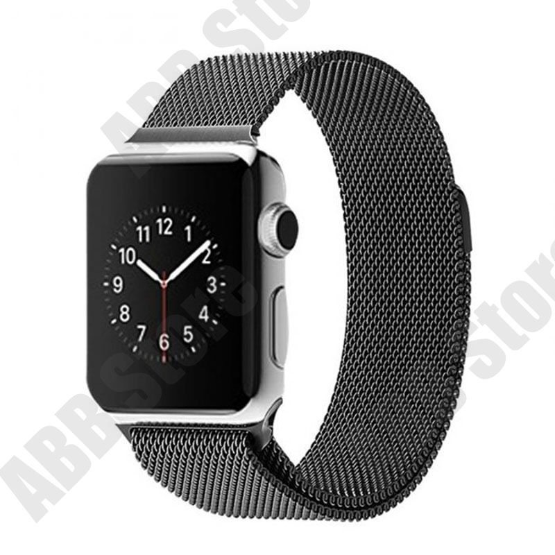 294f10c435a pulseira p  relógio apple watch 42mm milanese aço preta. Carregando zoom.