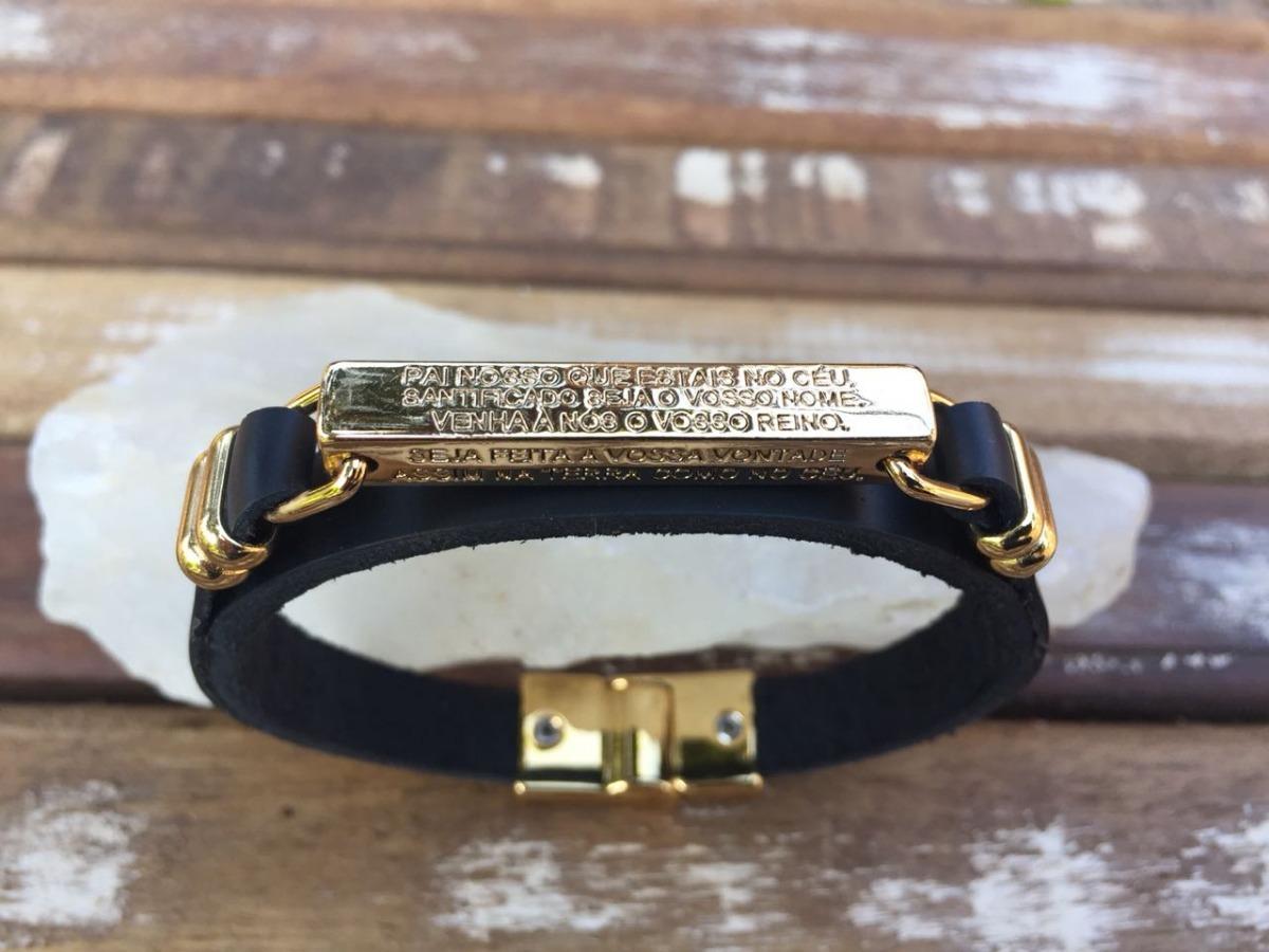 560d03c62 pulseira pai nosso masculina em couro legítimo formen. Carregando zoom.