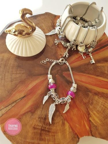 pulseira pandora c/berloques life bijuterias 22peças+brinde