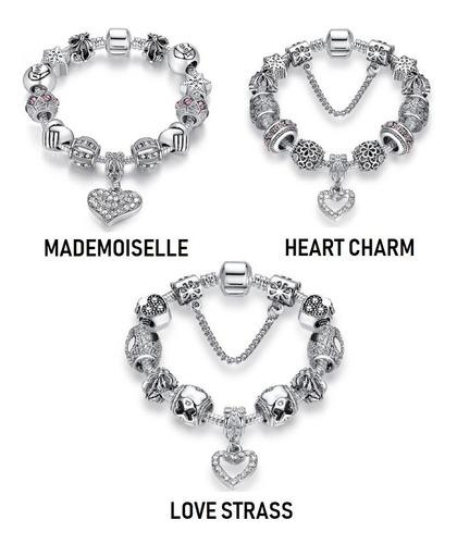 pulseira  pandora feminina murano berloque charm prata 925