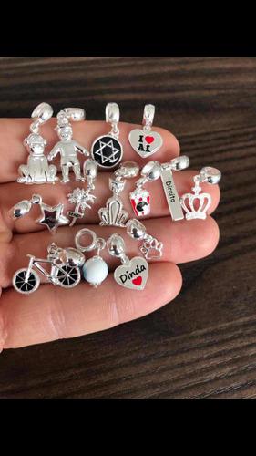 pulseira pandora luxo resistente + 3 charms berloque prata