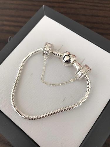 pulseira pandora luxuosa e trava segurança cravejada prata