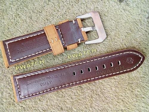 pulseira panerai couro camurça 24mm com fecho aço prata