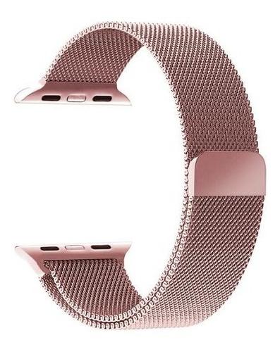 pulseira para apple watch 42mm aço inoxidavel rose milanese