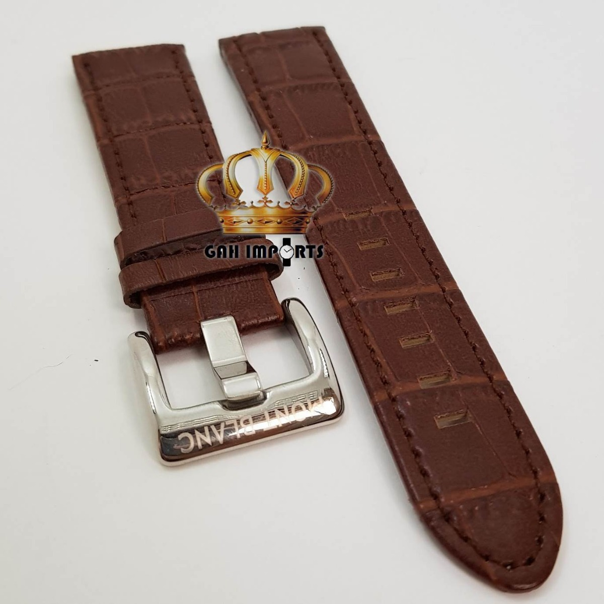 5f7121b2bd2 pulseira para mont blanc em couro e fivela 24mm marrom. Carregando zoom.