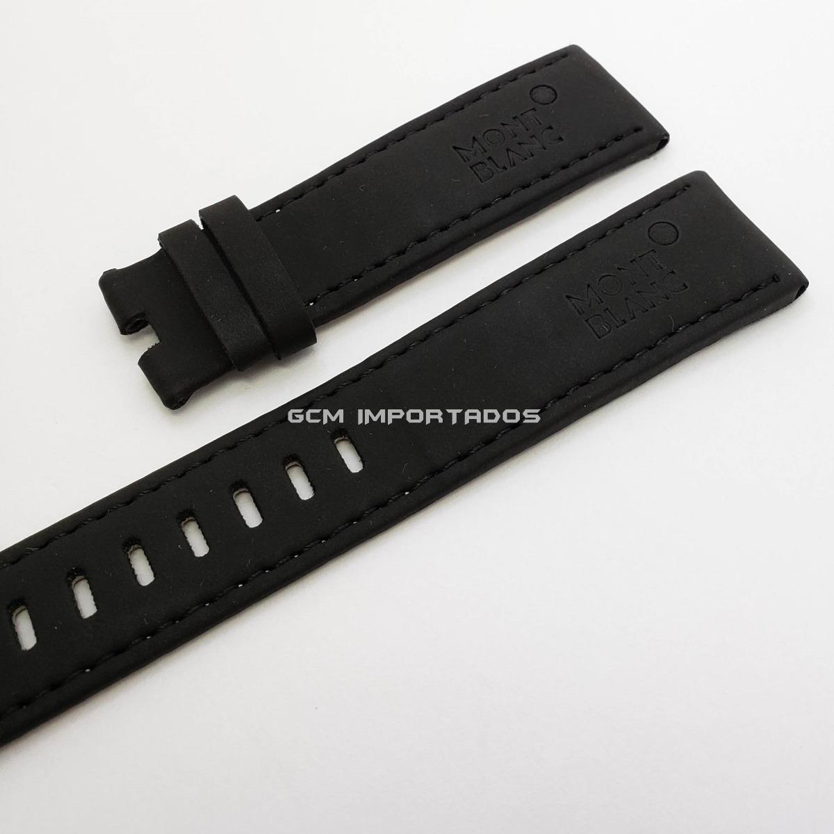 760b07f8a8a pulseira para mont blanc em couro legítimo preto 22 20 mm. Carregando zoom.