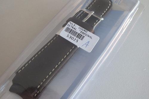 pulseira para relógio - couro curva- luxo-20 marrom escura